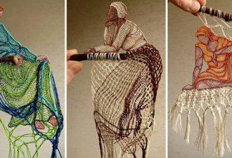 Инсталляции из ниток от Herczeg Ágne: фотографии из кружев