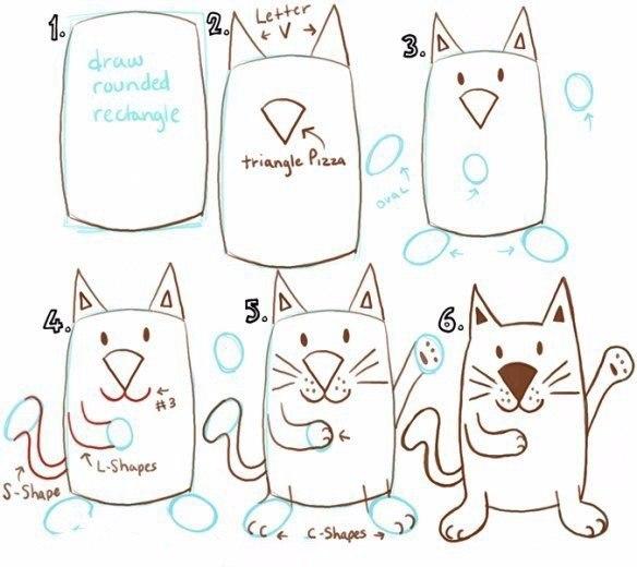 9 простых способов нарисовать кошку и жирафа