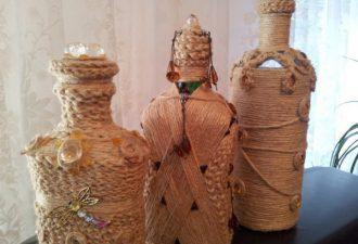Декор бутылок нитками: самые оригинальные идеи