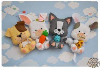 Забавные игрушки из фетра по одной выкройке