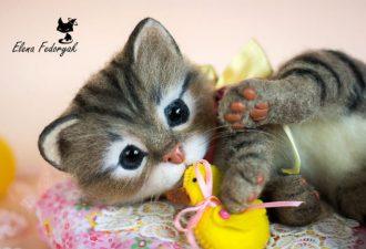 Необыкновенно реалистичные коты от Елены Федоряк
