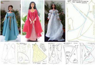 Самые красивые платья для кукол с выкройками