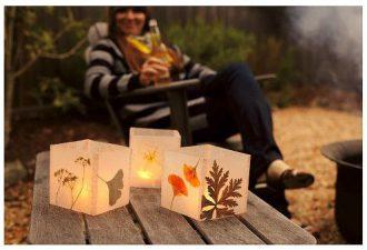 Светильник с использованием осенних листьев своими руками