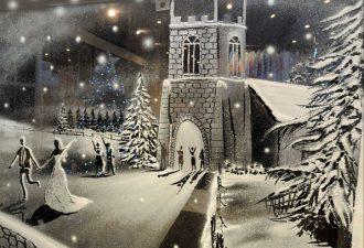 Рисунки искусственным снегом на стекле от Тома Бэкера