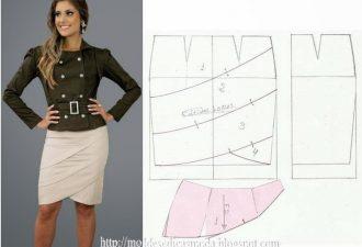 Шесть прямых моделей юбок с декоративными элементами и выкройками