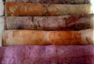 Покраска тканей и создание узоров с помощью листьев и травы