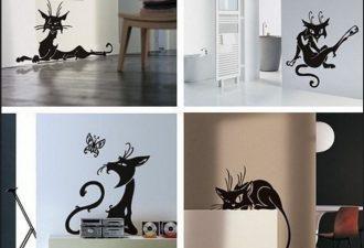 8 трафаретов с проказником-котом для дома: долой стереотипы