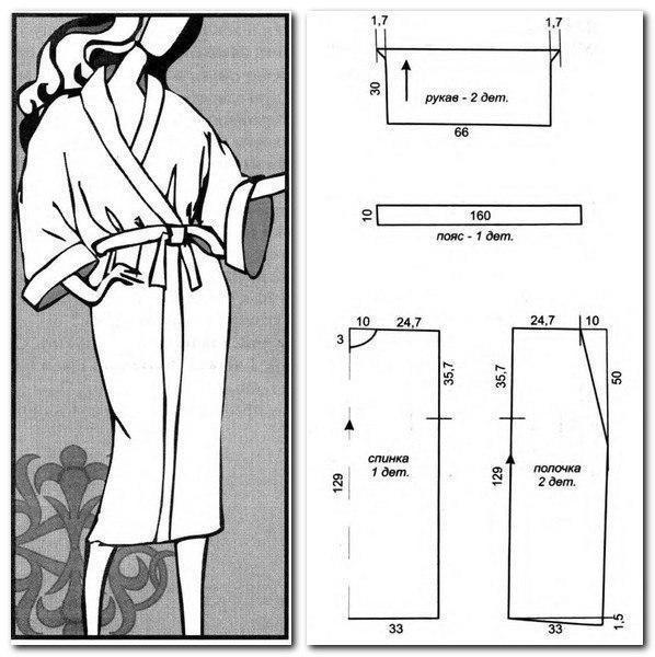 Как сшить халат быстро и без выкройки с запахом