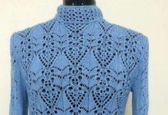 Японский ажур спицами: схема для стильного пуловера