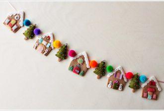 Новогодняя гирлянда с домиками из фетра своими руками