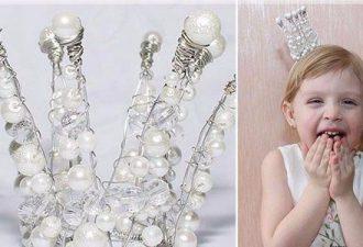 Детская корона из проволоки и бусин своими руками