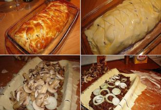 Быстрый мясной пирог с грибами своими руками: простой рецепт