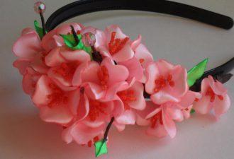 Ободки с цветами из лент канзаши: изысканные украшения с мастер-классами по созданию
