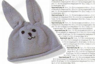 Вязаные шапочки-зайчики для малышей со схемами и описанием