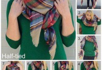 7 способов стильно завязать тёплый шарф этой зимой