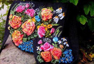 10 впечатляющих идей вышивки лентами на сумках и рюкзаках