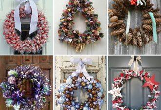 Новогодние веночки из разных материалов: готовимся к праздникам