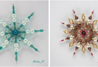 10 идей впечатляющих бисерных снежинок своими руками
