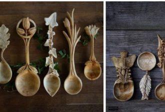 Резные ложки из дерева с природными мотивами от мастеров