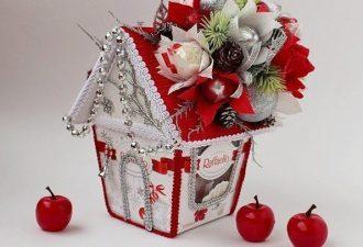 """Домик из коробки """"Рафаэлло"""": новогодняя идея для подарка"""