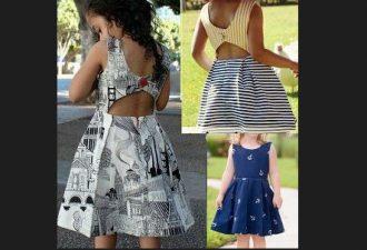 Платье для девочки с открытой спиной с выкройками