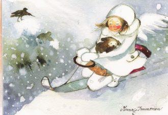 Новогодние акварельные рисунки Минны Иммонен