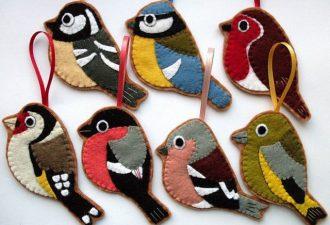 Простые и милые игрушки из фетра в виде животных и птиц