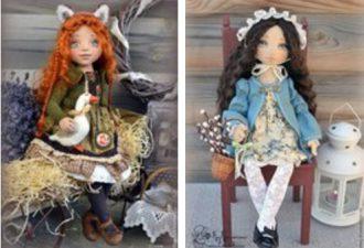 Мягкие куклы в стиле ретро от Елены Негороженко