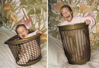 """Семейные фото """"до и после"""": как бы выглядели детские снимки через несколько десятков лет"""