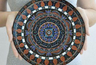 Красота точечной росписи в посуде ручного производства