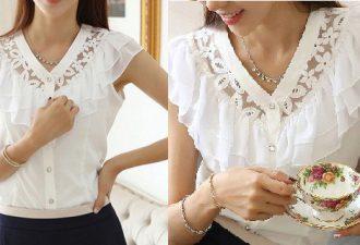 Лёгкая кружевная блузка на все размеры с выкройками