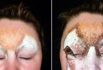 Визажист потратила два часа, чтобы превратить свое лицо в голову оленя